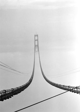 Mackinac Bridge cables during construction