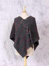Grey Poncho with Boucle Accents from Oak Grove Alpaca