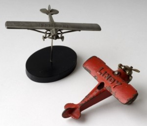 Two Toy Lindbergh Planes. Photo by David Kenyon, Michigan Department of Natural Resources and Environment.