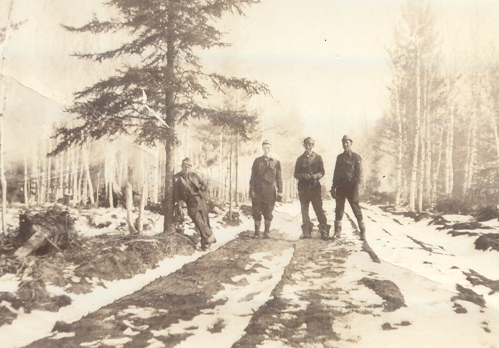 Road building by CCC men of Camp Cusino