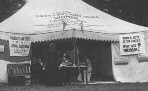 A woman suffrage tent at the 1912 Michigan State Fair