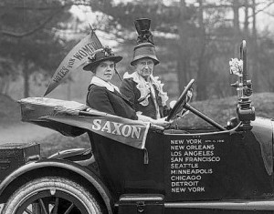 Suffragrists Alice Burke and Nell Richardson in their Golden Flier, 1916