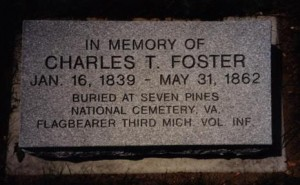 This memorial marker lies at Mount Hope Cemetery in Lansing, Michigan (As noted on the marker inscription, Foster himself is buried at Seven Pines National Cemetery in Virginia)